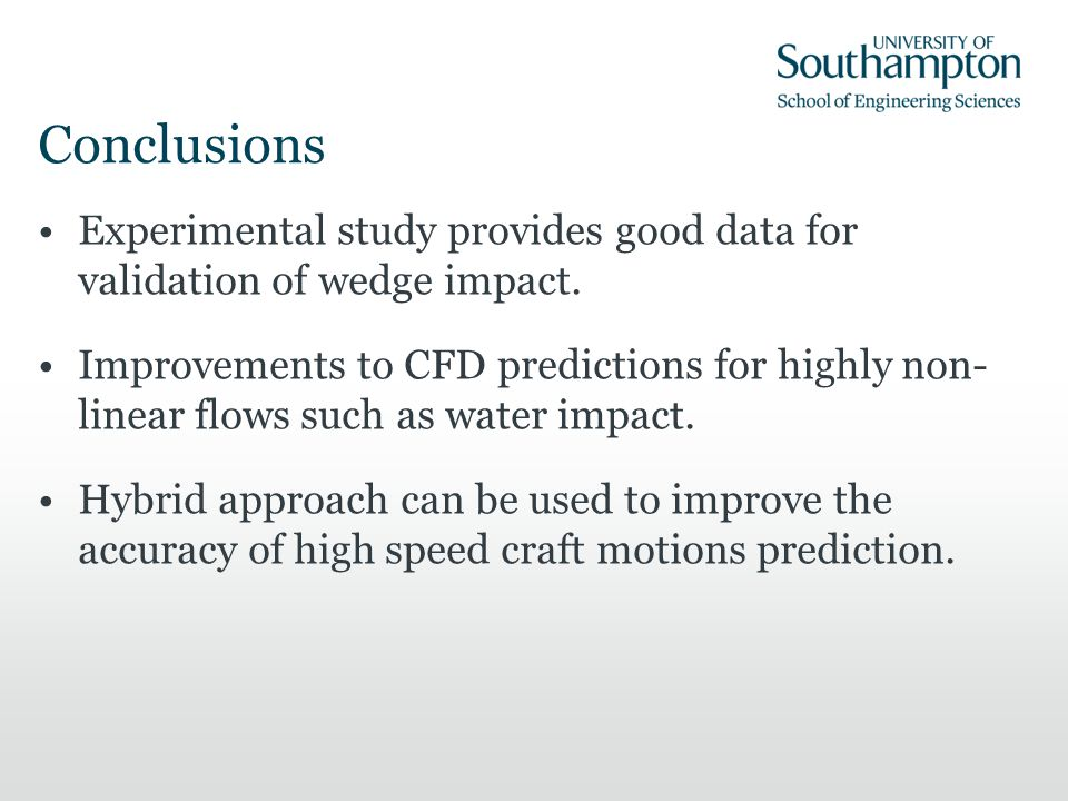 Conclusions Experimental study provides good data for validation of wedge impact.
