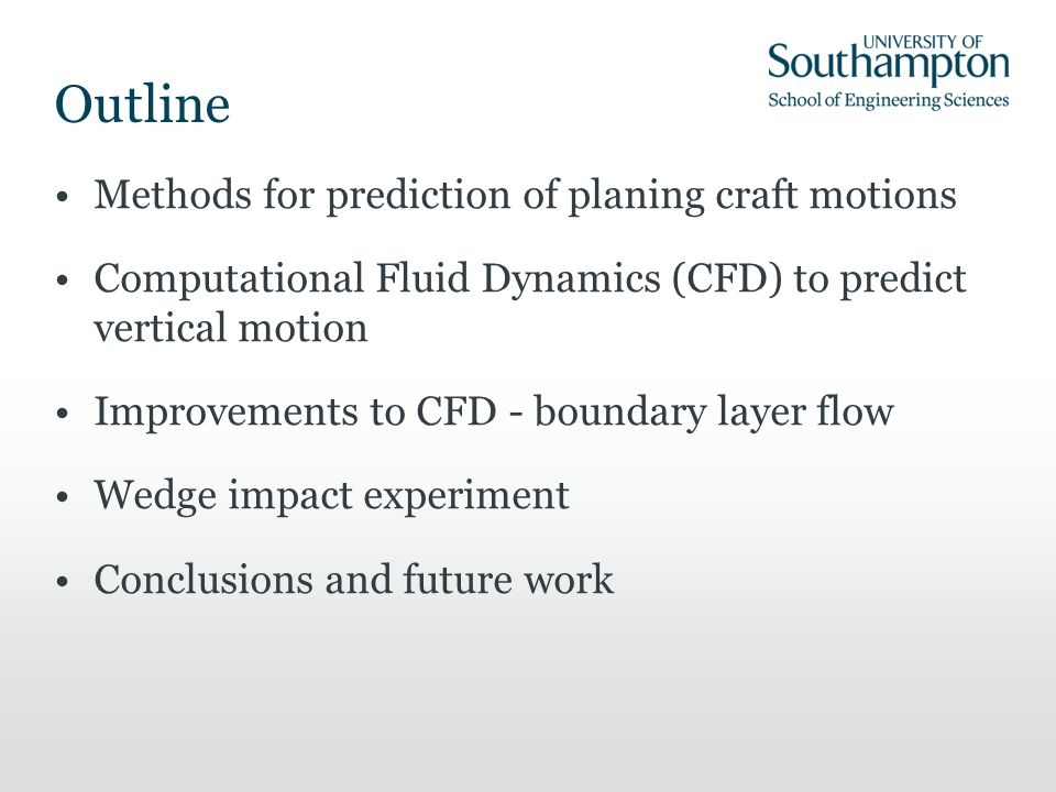 Outline Methods for prediction of planing craft motions