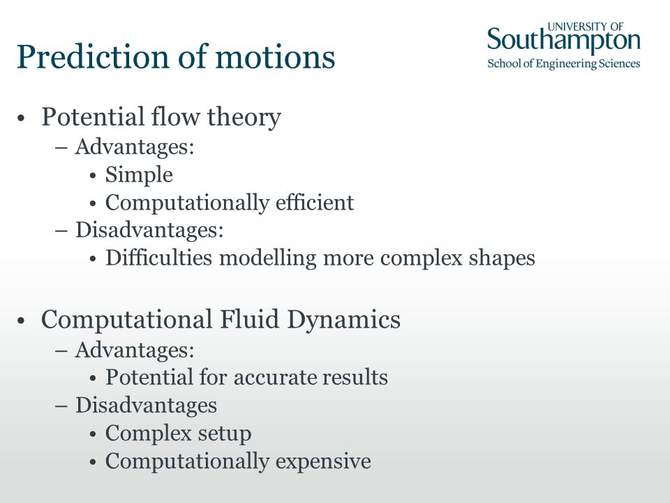 Prediction of motions Potential flow theory