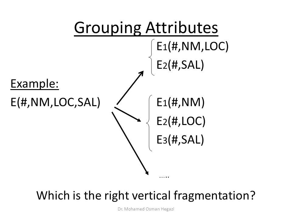 Grouping Attributes E1(#,NM,LOC) E2(#,SAL) Example: