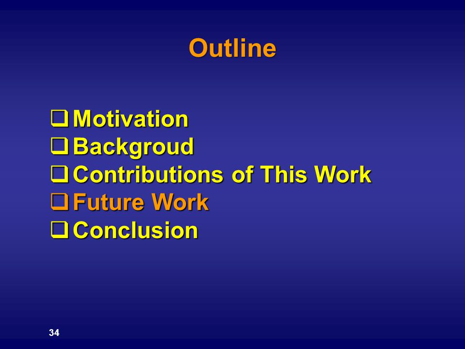 Outline Motivation Backgroud Contributions of This Work Future Work
