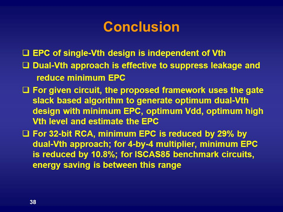 Conclusion EPC of single-Vth design is independent of Vth