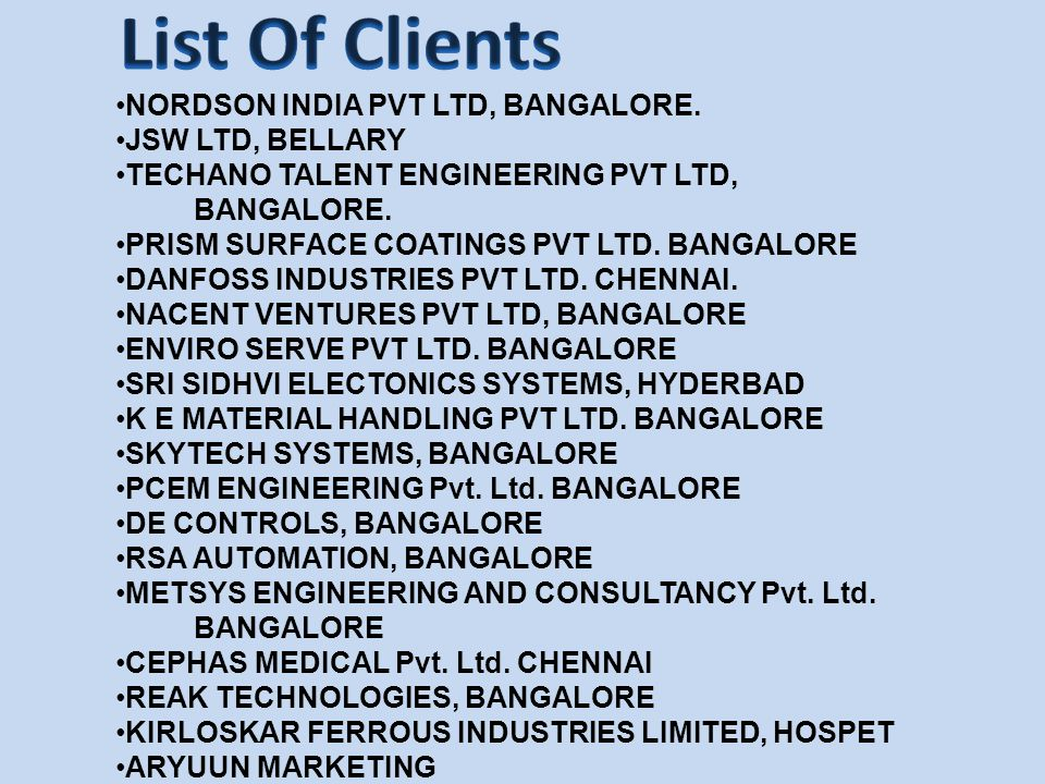 List Of Clients NORDSON INDIA PVT LTD, BANGALORE. JSW LTD, BELLARY