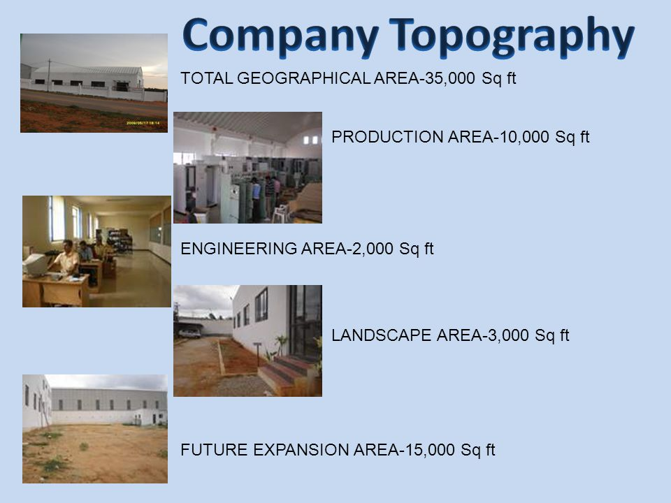 Company Topography TOTAL GEOGRAPHICAL AREA-35,000 Sq ft