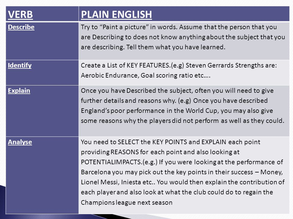 VERB PLAIN ENGLISH Describe