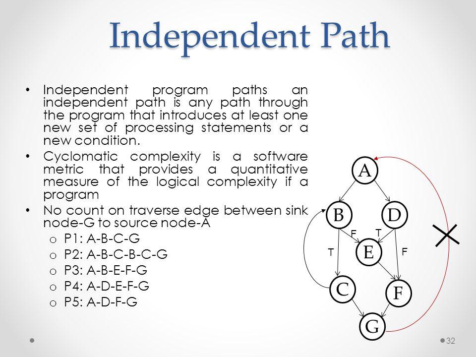 Independent Path A B D E C F G