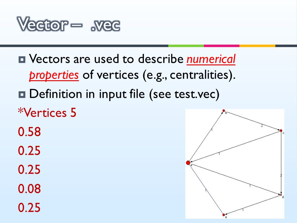 Vector – .vec Vectors are used to describe numerical properties of vertices (e.g., centralities). Definition in input file (see test.vec)