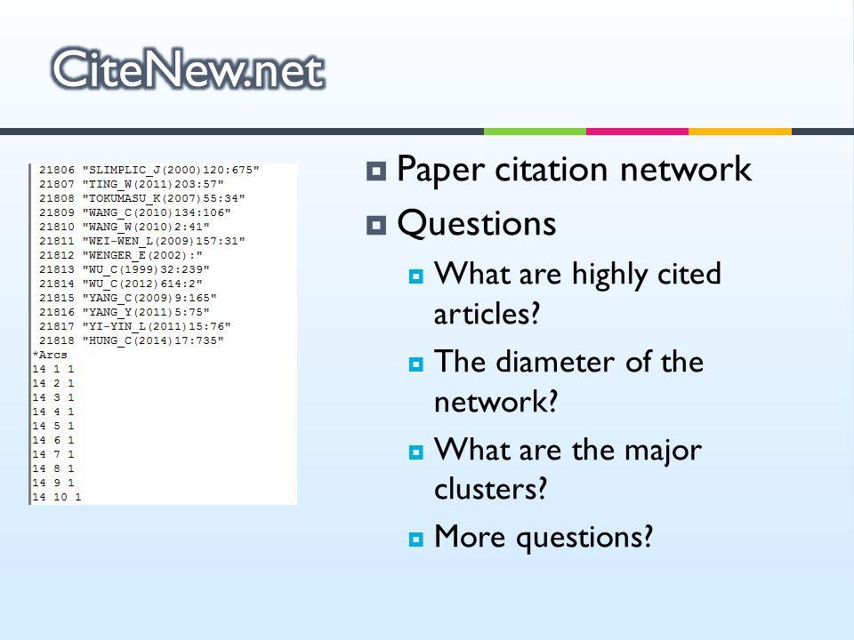 CiteNew.net Paper citation network Questions