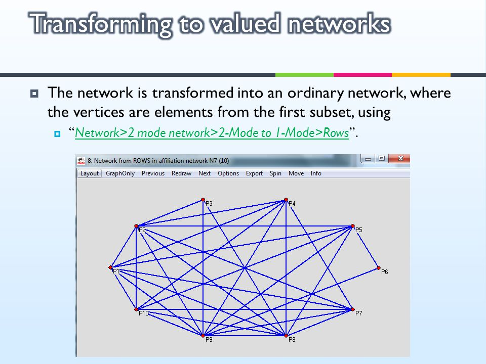 Transforming to valued networks