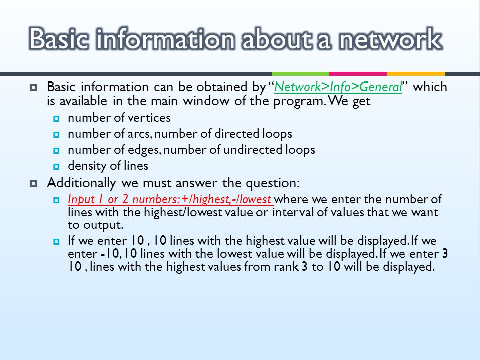 Basic information about a network
