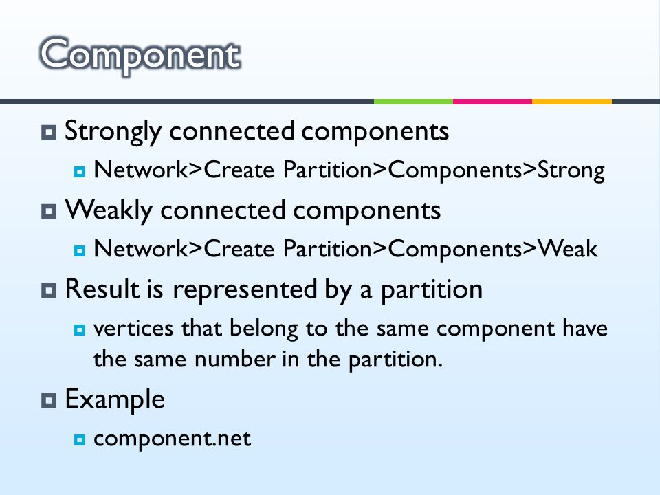 Component Strongly connected components Weakly connected components