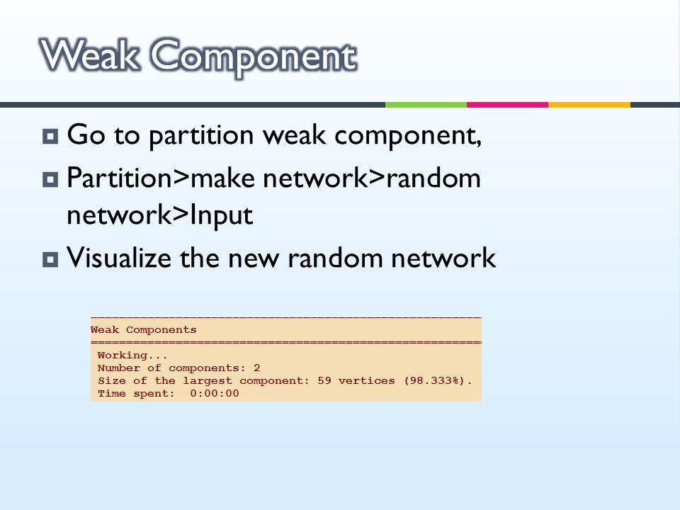 Weak Component Go to partition weak component,