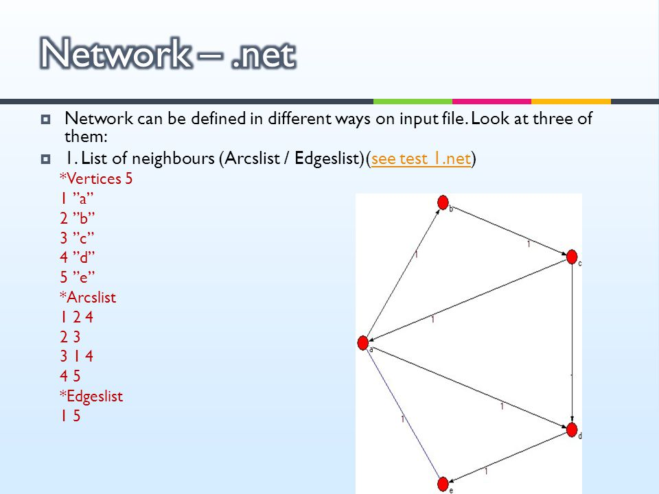 Network – .net Network can be defined in different ways on input file. Look at three of them: