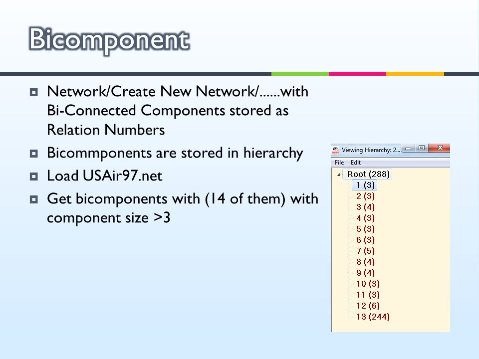 Bicomponent Network/Create New Network/......with Bi-Connected Components stored as Relation Numbers.