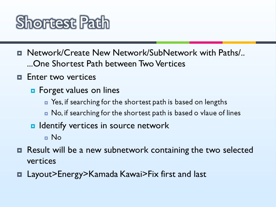Shortest Path Network/Create New Network/SubNetwork with Paths/.. ...One Shortest Path between Two Vertices.