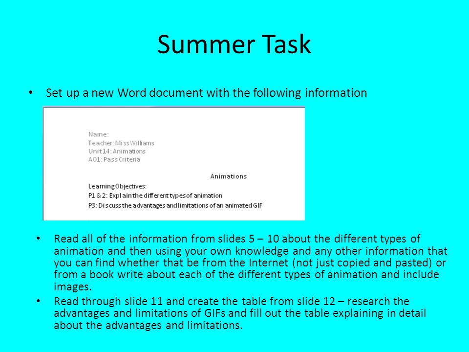 Summer Task Set up a new Word document with the following information
