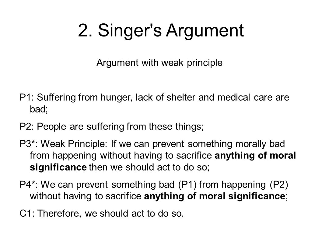 Argument with weak principle