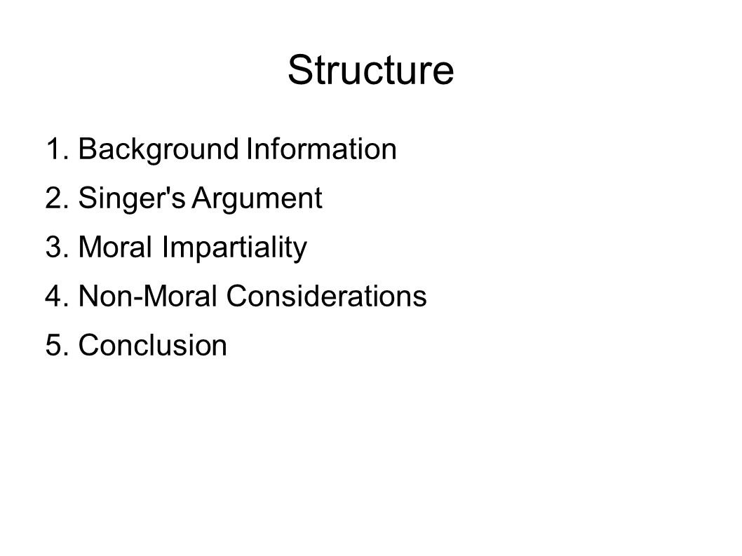 Structure 1. Background Information 2. Singer s Argument