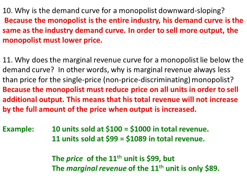 10. Why is the demand curve for a monopolist downward-sloping