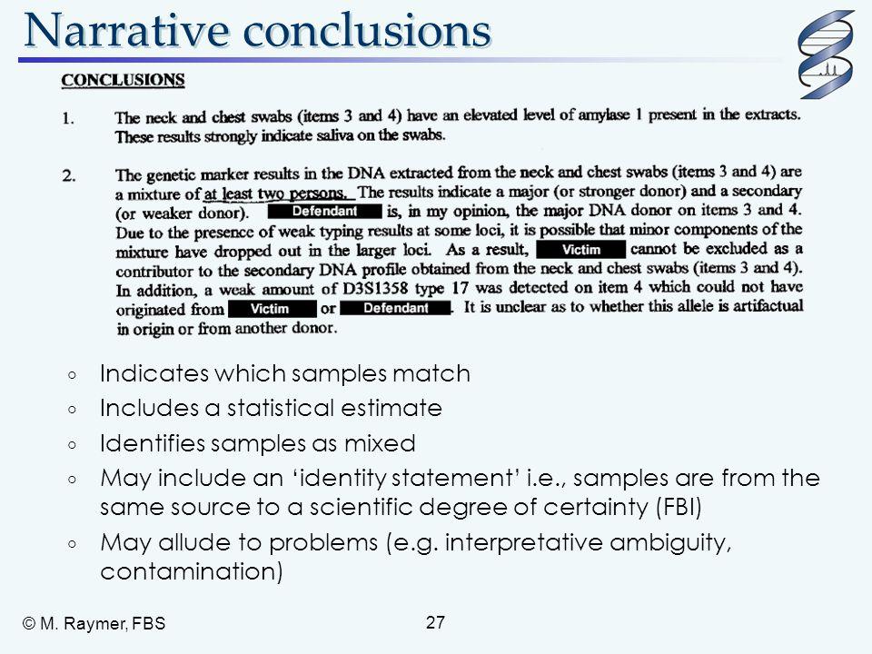 Narrative conclusions