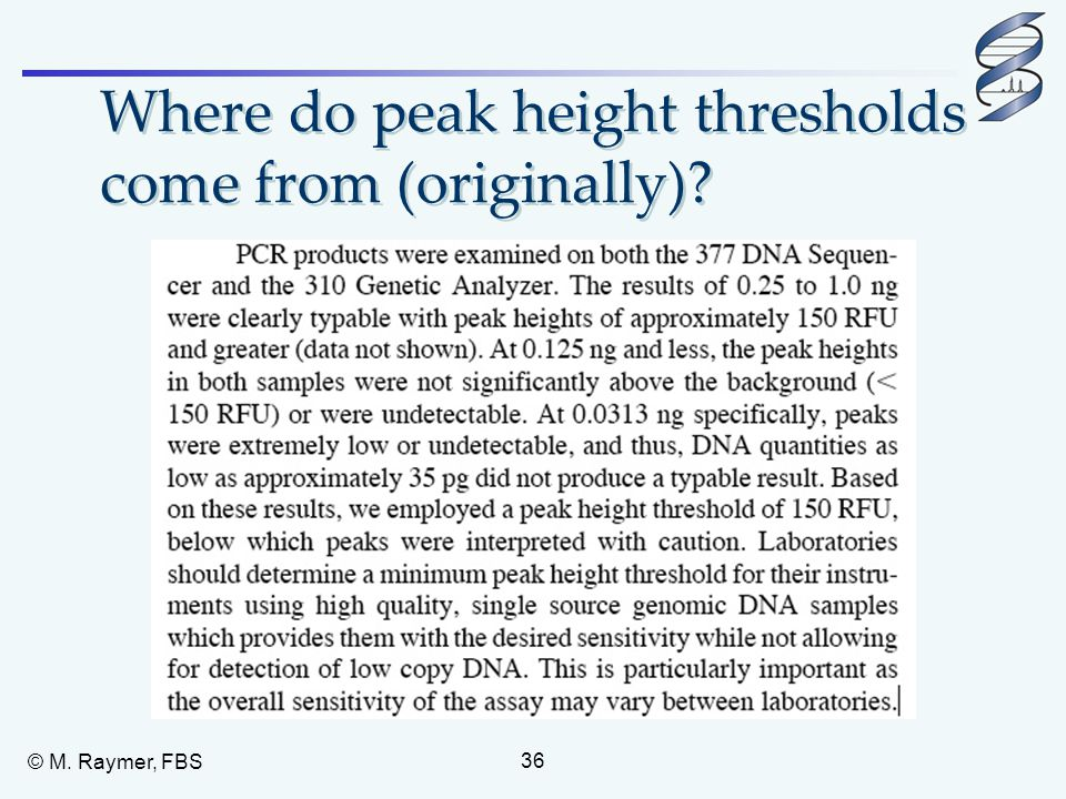 Where do peak height thresholds come from (originally)