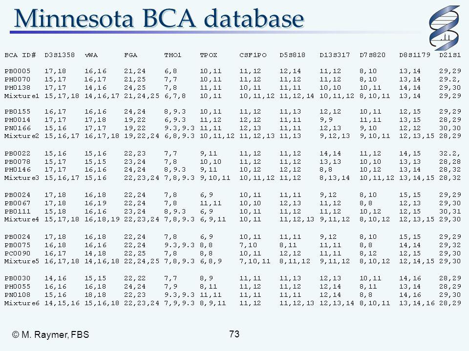 Minnesota BCA database