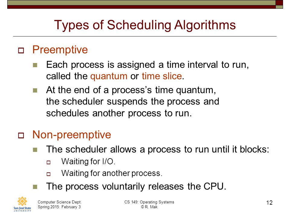 Types of Scheduling Algorithms