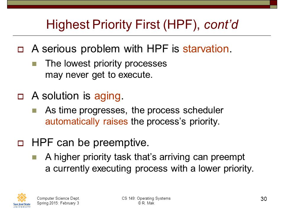 Highest Priority First (HPF), cont'd