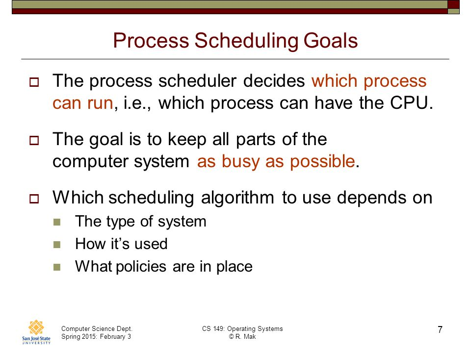Process Scheduling Goals