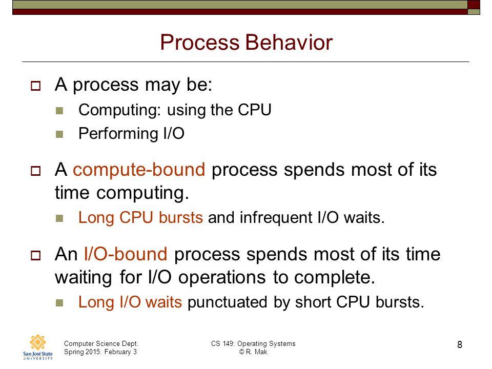Process Behavior A process may be: