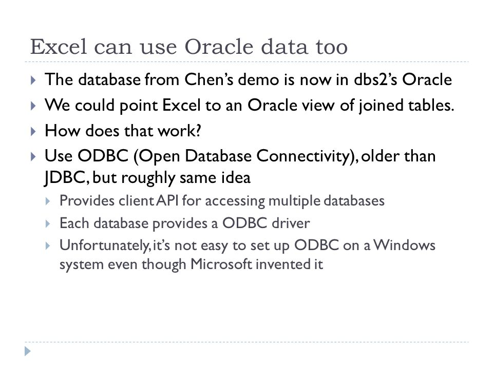 Excel can use Oracle data too