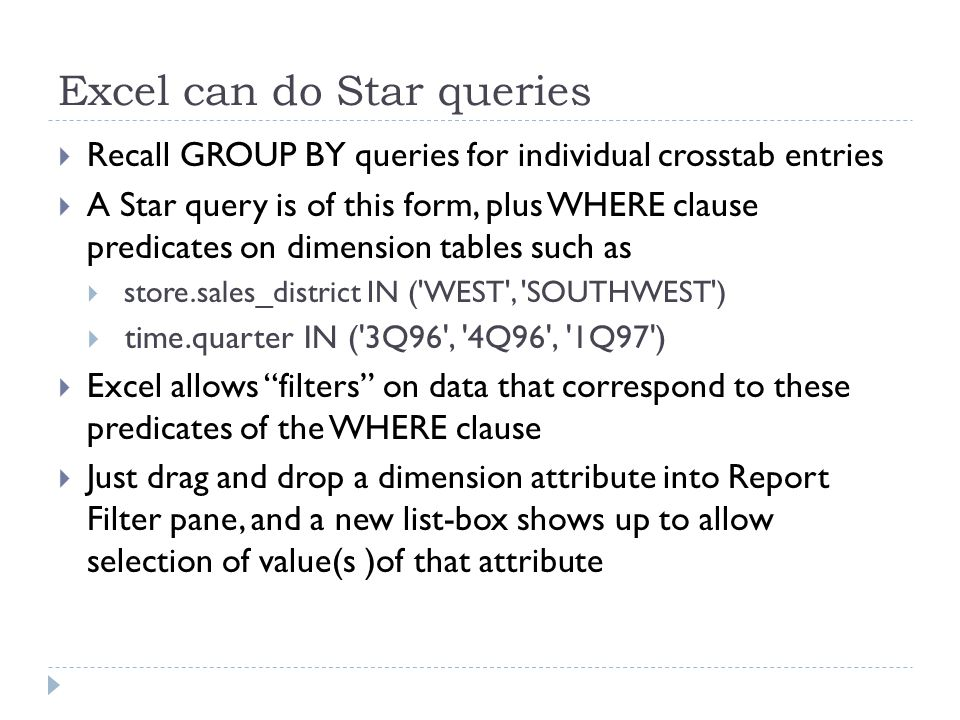 Excel can do Star queries