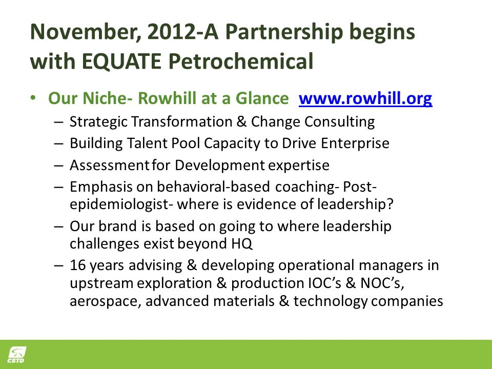 November, 2012-A Partnership begins with EQUATE Petrochemical