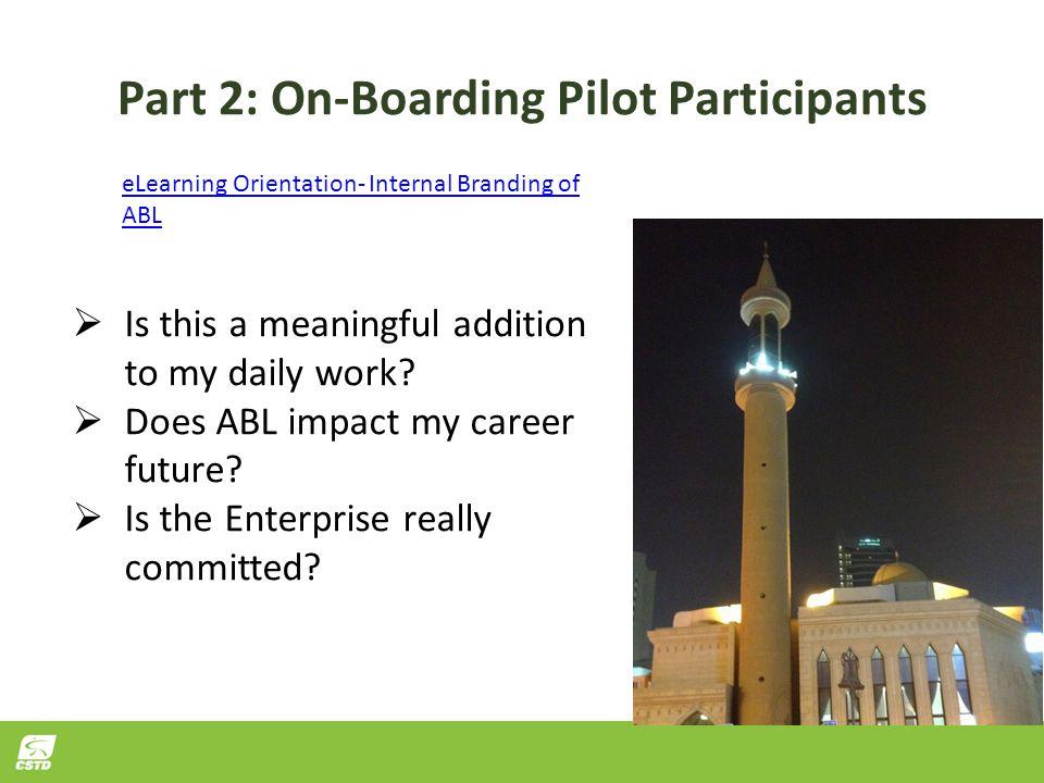 Part 2: On-Boarding Pilot Participants