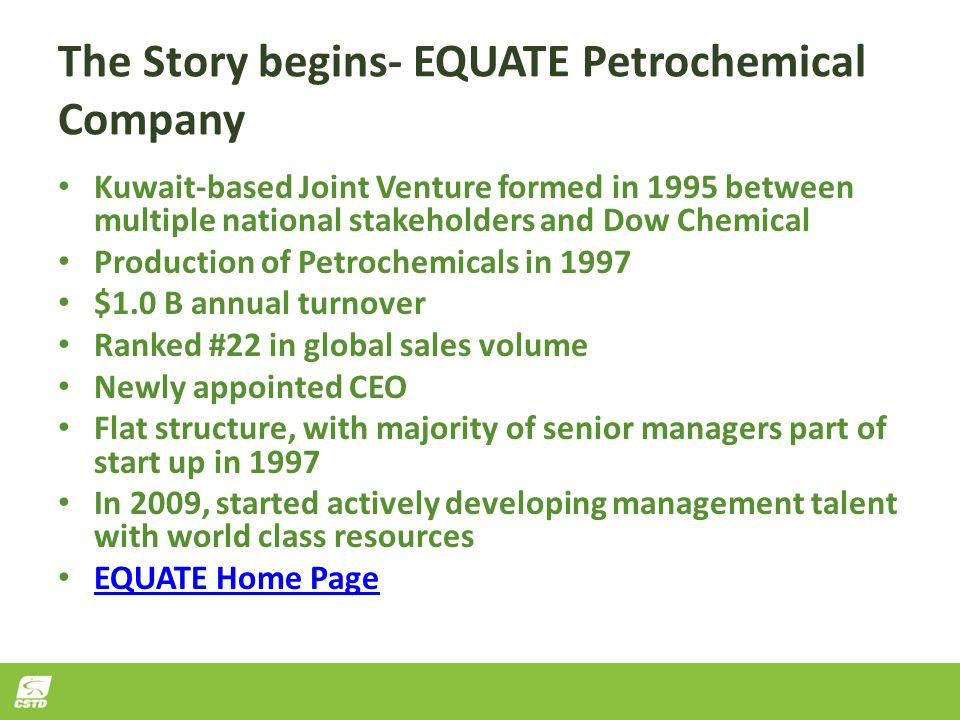 The Story begins- EQUATE Petrochemical Company