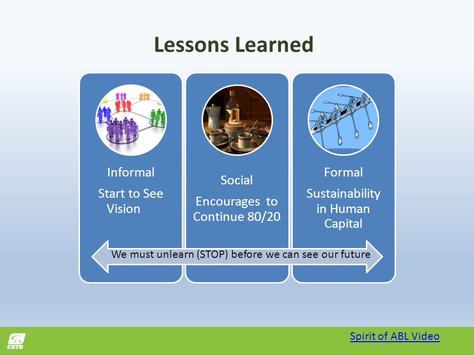 Lessons Learned Informal Start to See Vision Social