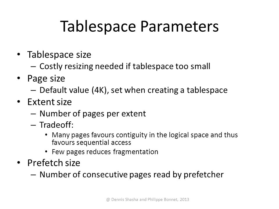 Tablespace Parameters