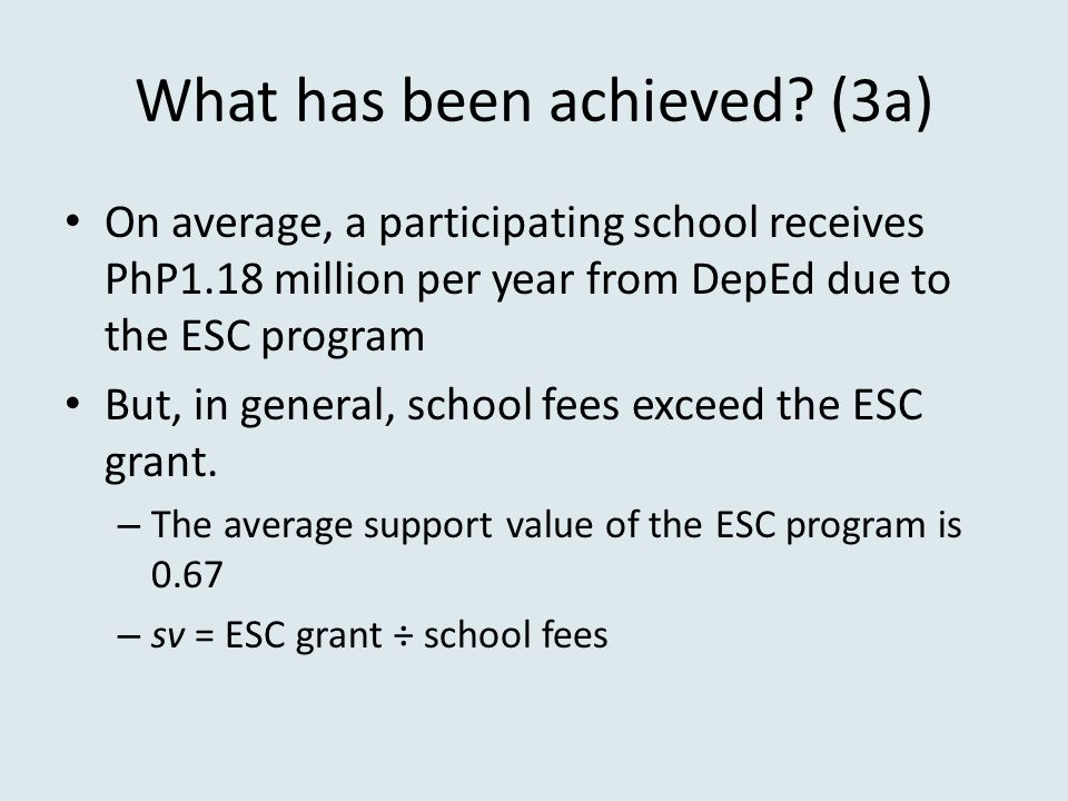 What has been achieved (3a)