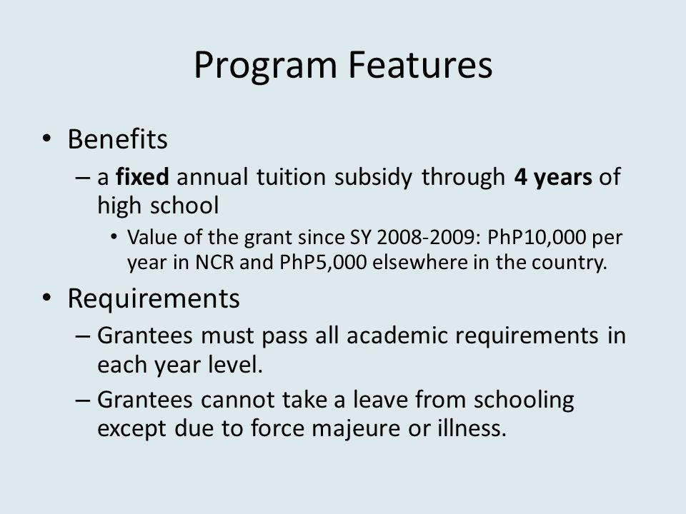 Program Features Benefits Requirements