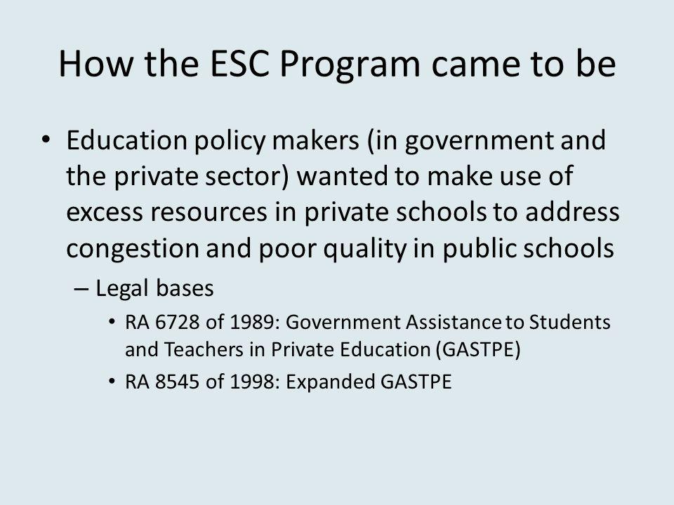 How the ESC Program came to be