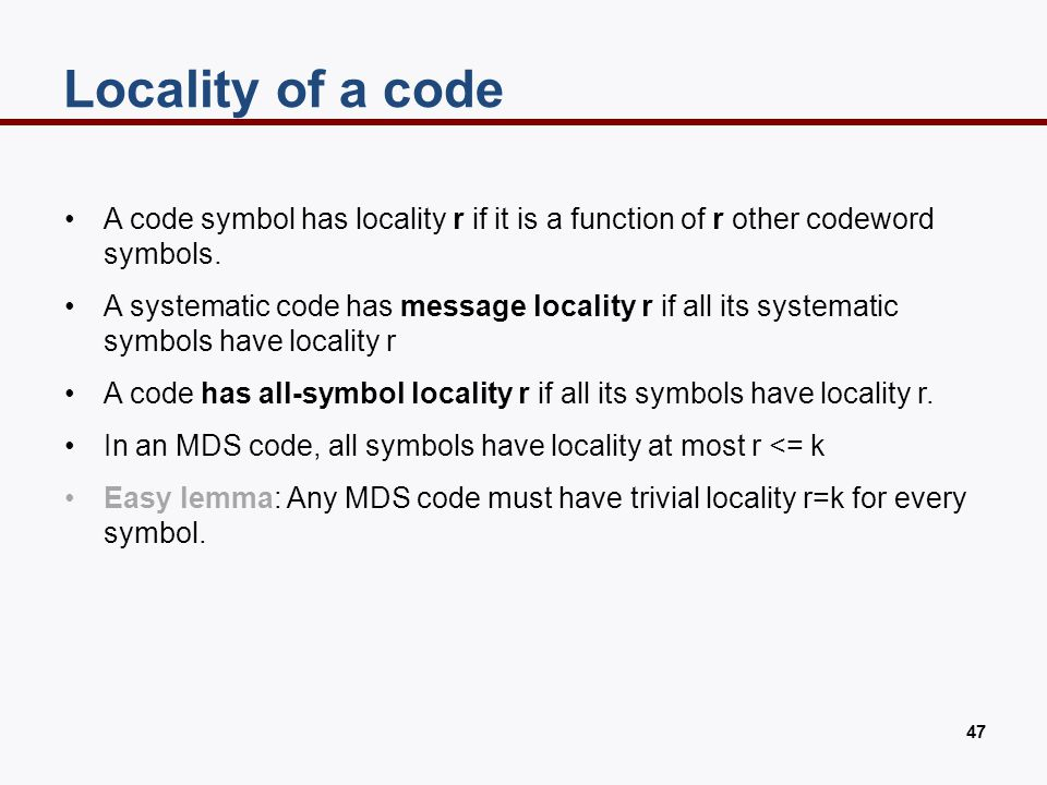 Example: code with message locality 5