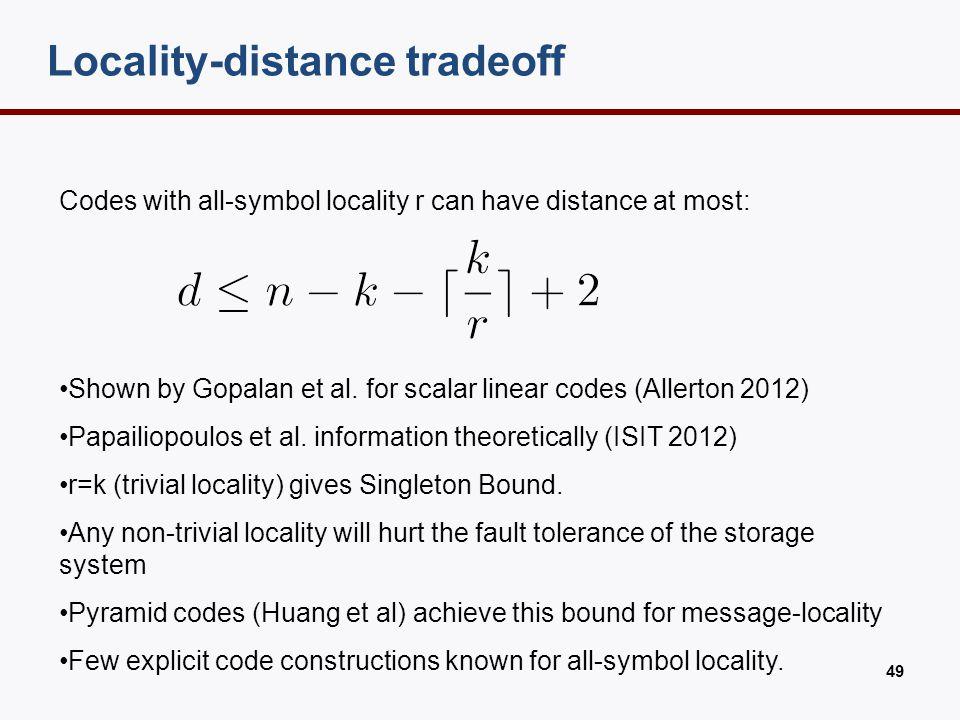 All-symbol locality RS p1 p2 p3 p4 1 2 3 4 5 6 7 8 9 10 x1 + x2 + + x3
