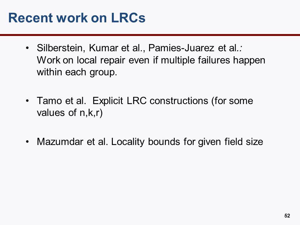 LRC code design RS p1 p2 p3 p4 1 2 3 4 5 6 7 8 9 10 x1 + x2 + x3 +