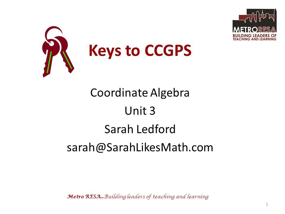 Coordinate Algebra Unit 3 Sarah Ledford sarah@SarahLikesMath.com
