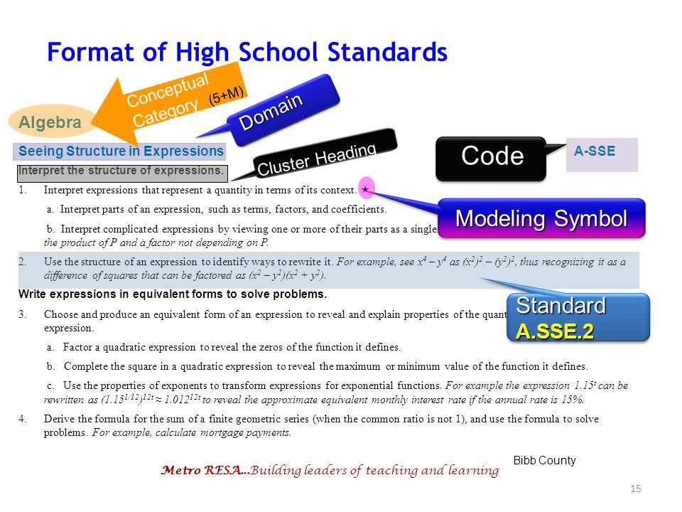 Format of High School Standards