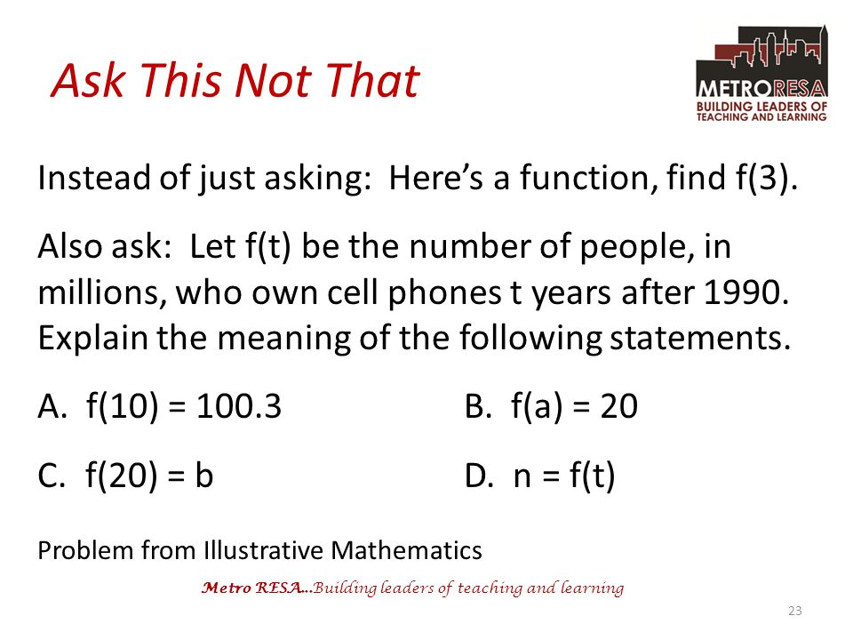 Ask This Not That Instead of just asking: Here's a function, find f(3).