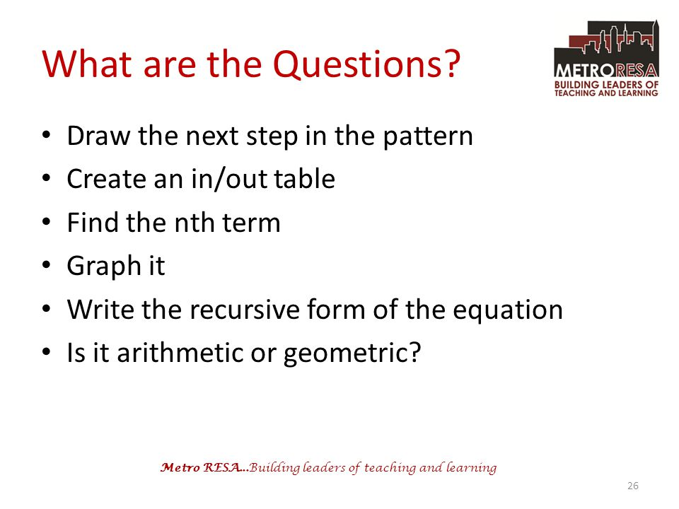 What are the Questions Draw the next step in the pattern