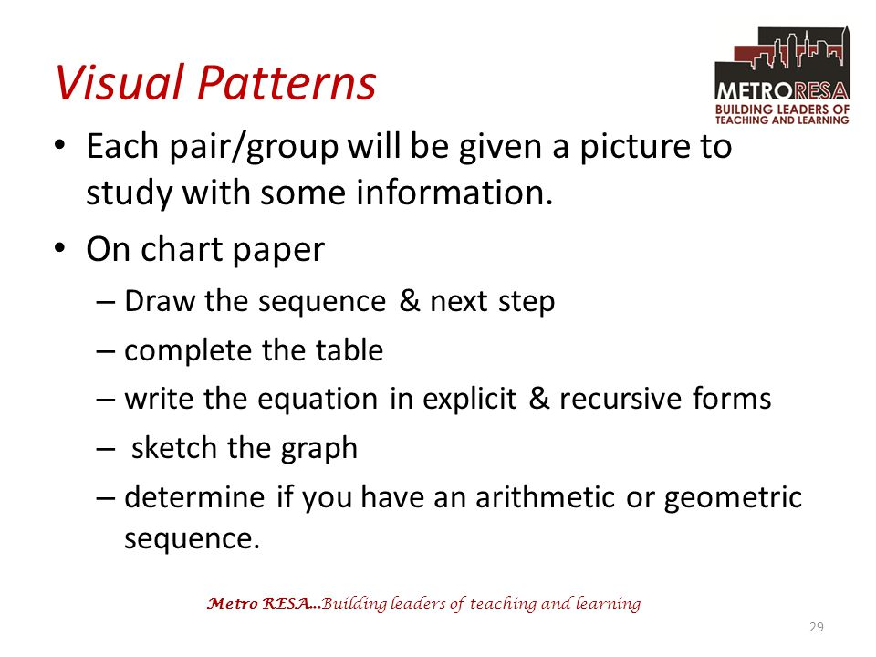 Visual Patterns Each pair/group will be given a picture to study with some information. On chart paper.
