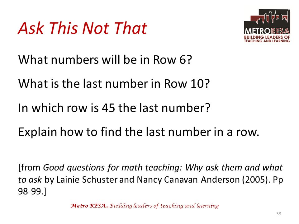Ask This Not That What numbers will be in Row 6