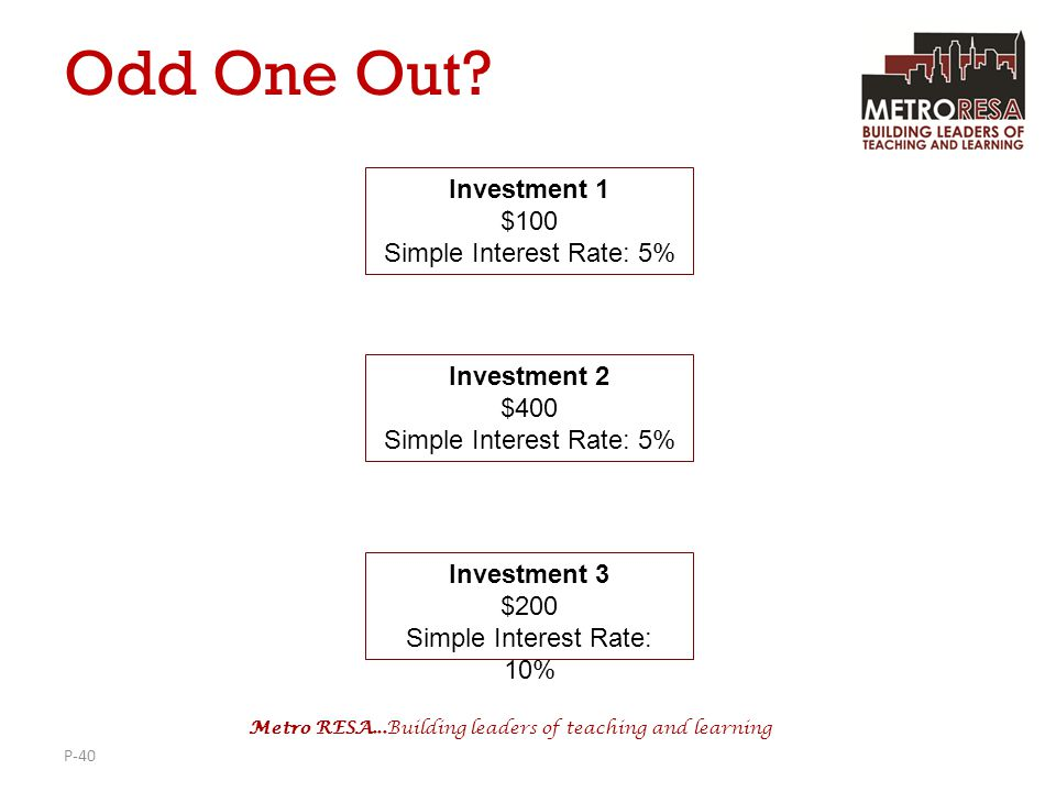 Odd One Out Investment 1 $100 Simple Interest Rate: 5% Investment 2
